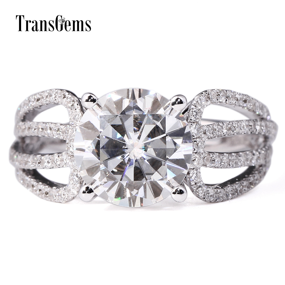 Transgems 3 Carat Lab Grown Moissanite Diamond Engagement Ring Real Diamond  Accents Solid 14k White Gold