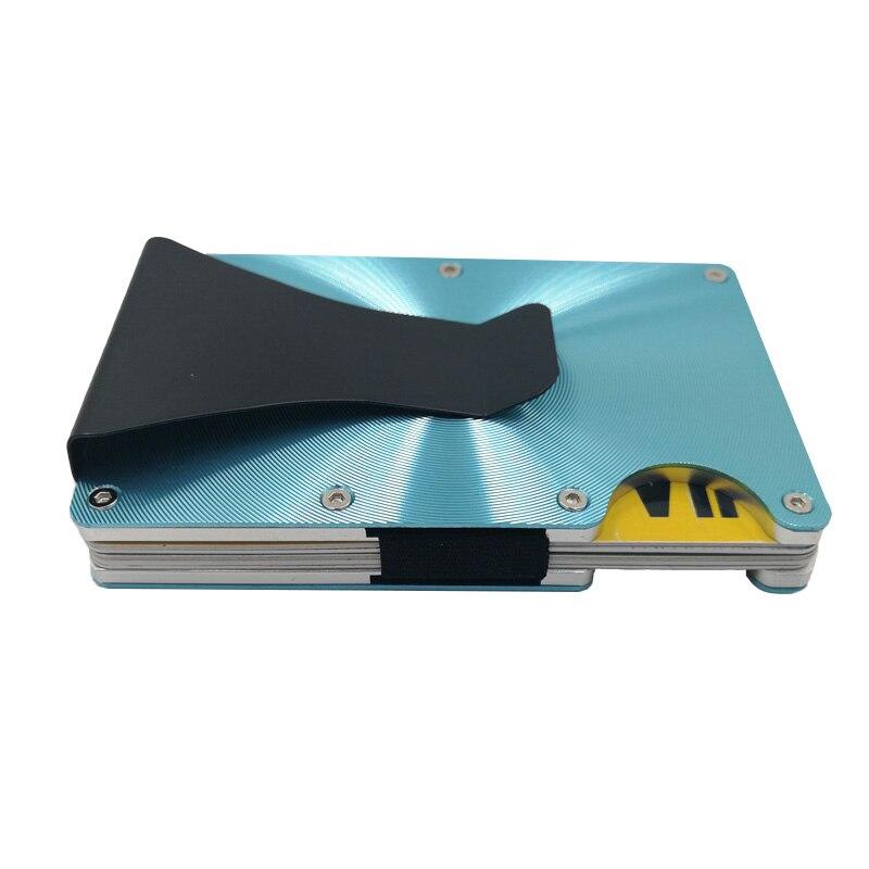 RFID Mini Slim Portafoglio Metallo Fermasoldi Marca Affari ID Porta Carte di Credito Anti-capo Del Raccoglitore Cassa di Carta Elastico Porte Carte