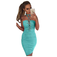 TFGS Women Faux Suede Lace Up Dress Women Slim Casual Summer Bandage Dress Sexy Club Elegant