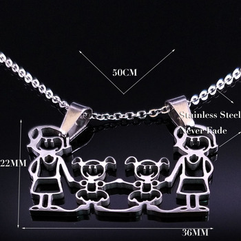Unisex Family Necklace Jewelry Necklaces Women Jewelry Metal Color: new 2mom 2girl