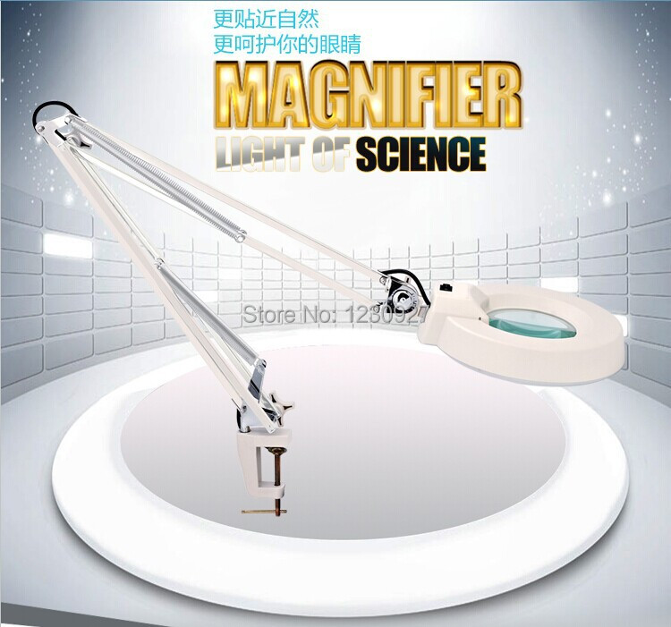 Free ship LED long arm lights on/off switch plastic clip-on foldable magnifier table lamp with 10X Optical magnifying glass lens 220v 10x desk clip on led illuminated green optical big magnifying glass led lamp folding stand large magnifier with led lights