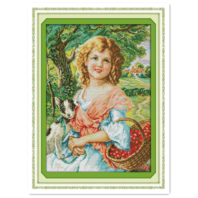 Picking Fruit Girl Needlework Kit DIY Set Paintings Home Decor Chinese Counted Cross Stitch Patterns Kits 11CT Printed On Canvas