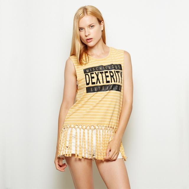 Mujeres rayas de algodón chaleco de moda femenina verano era delgada impreso borlas ZT1463 tanques sin mangas superior femenina floja ocasional