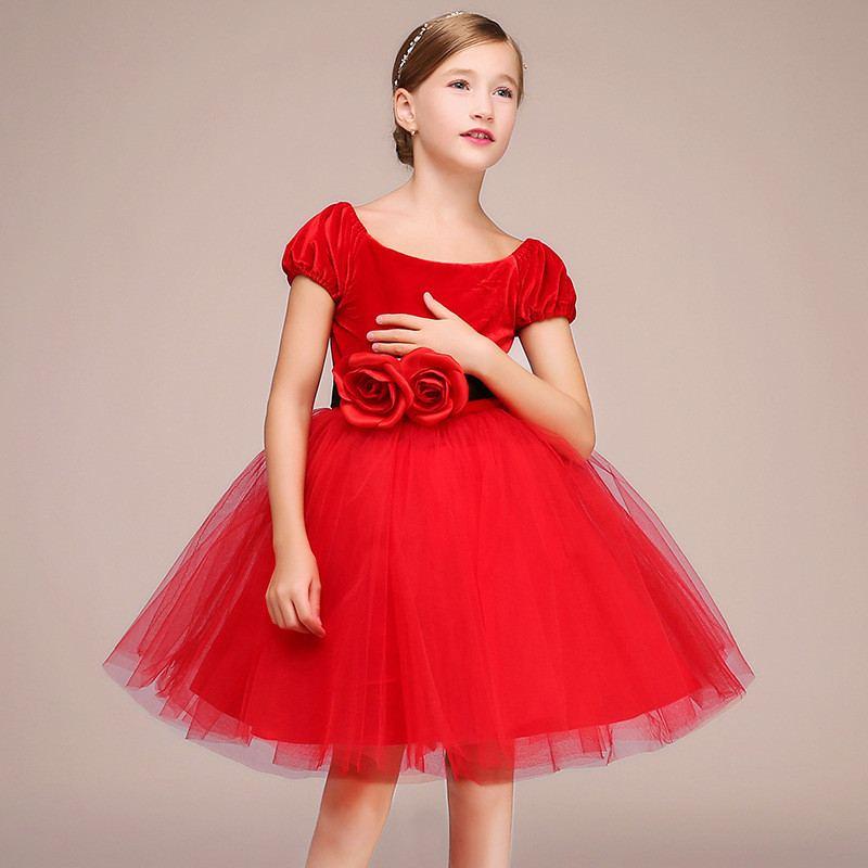2019 nouveaux enfants filles velours fleurs Tutu princesse robe bébé fille vêtements Vestidos enfants robes pour filles soirée F200 - 4