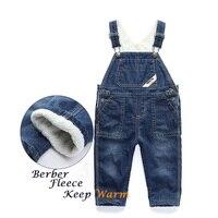 Jesień Dziewczyny Ubrania Dla Dzieci Bawełna Romper Maluch Kombinezony Denim Jeans Chłopcy Dziewczęta Polarowe Spodnie Zimowe Dla Dzieci 2016 Spodnie Dla Dziecka
