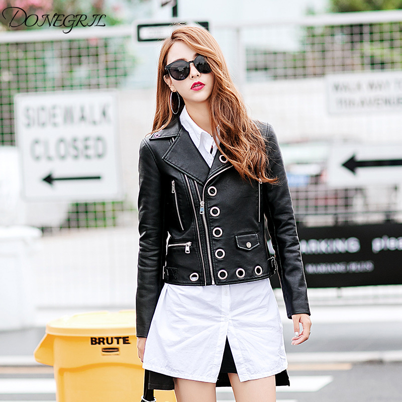 2018 new women's Lapel PU   leather   jacket hollow metal rivets short motorcycle jacket   leather   jacket