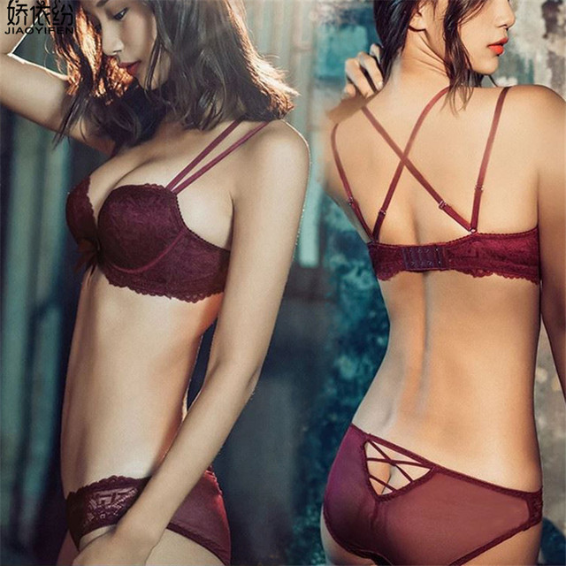 313d45dca6ebbe JYF Luxury sexy women underwear set wire-free lace bra set backless sexy  straps high quality lingerie push up bra brief sets