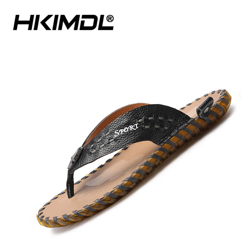 HKIMDL PU Leather Slippers Men Outdoor Shoes Male Beach Flip Flops Summer Slides Casual Shoes Travelling Walking Slippers