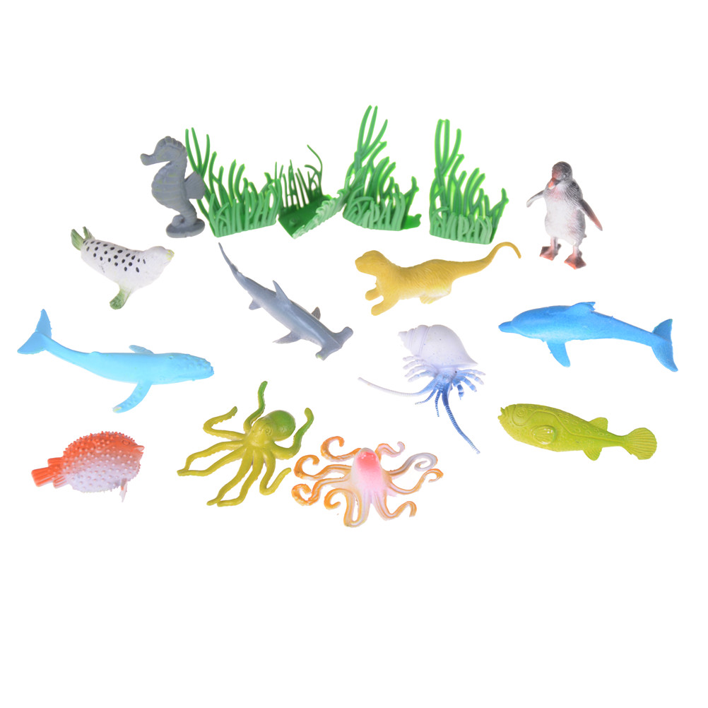 12pcsset Colorful Plastic Marine Animal Model Toy Figure Ocean Creatures Dolphin Model Toy