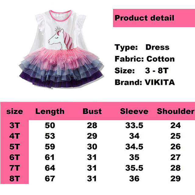 Unicorn princess dresses with long sleeves / Vestidos de princesa unicornio de manga larga