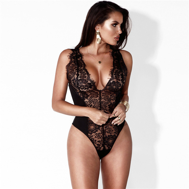 Women Sexy Black White Lace Bodysuits Deep V-neck Sexy Bodies Playsuits  Bodycon Rompers Overalls 2017 Macacao Combinaison Femme