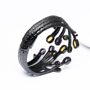 Image 5 - Fashion jewelry 2020 Black bangle multi cubic zirconia crystal bracelet femme armbanden voor vrouwen party bangles for women