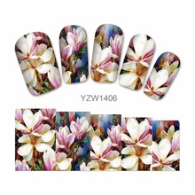 ZKO 1 Sheet Blooming Lily Designs Water Decals Flower Nail Art Stickers Tips Decorations For Nails Tools 1406