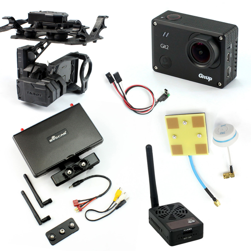 DIY Drone FPV Set with 2000mw Transmitter 7 Inch FPV Monitor Tarot T4-3D 3-axis Gimbal Gitup git2 Camera FPV Cable Panel Antenna
