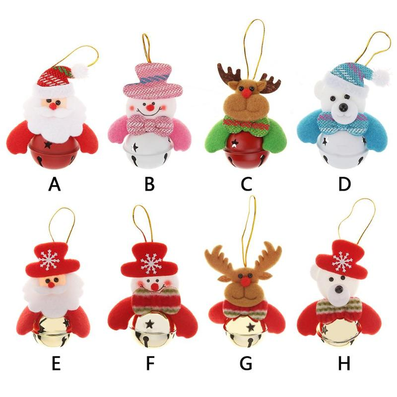 Cute Cartoon Christmas Doll Bell Hanging Ornament Xmas Tree Pendant New Year Christmas Decorations for Home Party Supplies 1