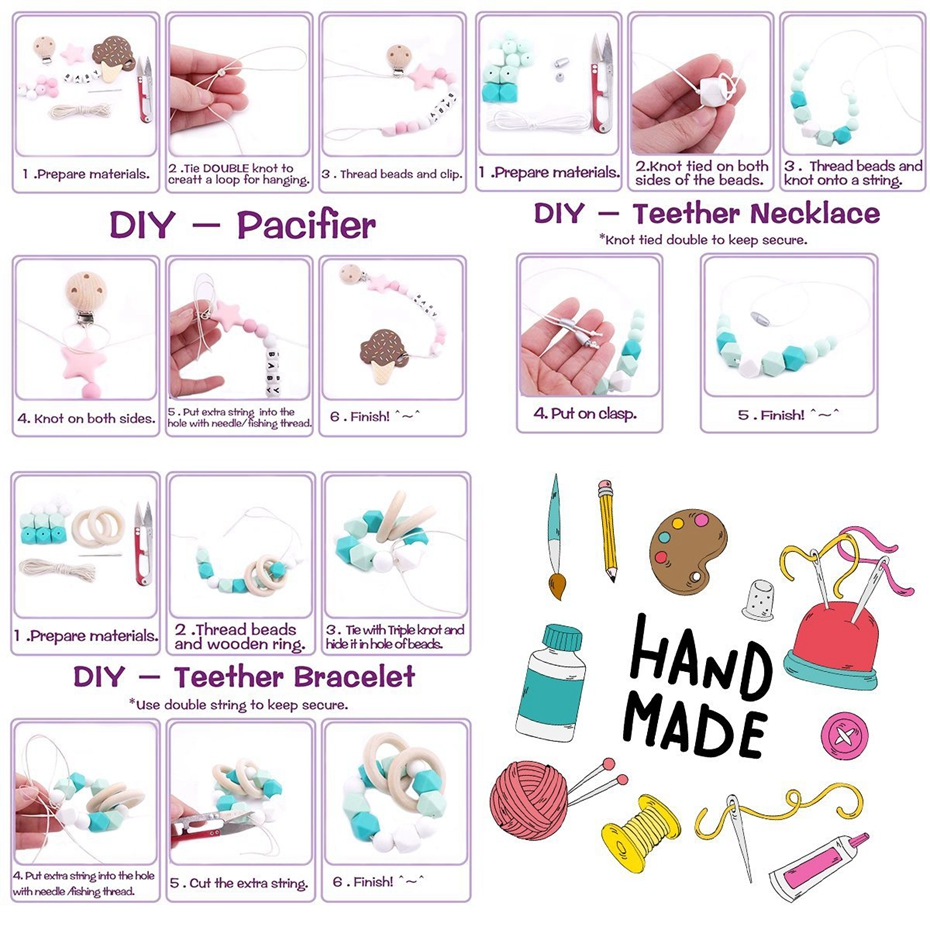 Let 39 s Make Baby Teether Accessories Silicone Beads Ice Cream Wooden Bird Pacifier Clip DIY Jewelry Nursing Teething Necklace in Baby Teethers from Mother amp Kids