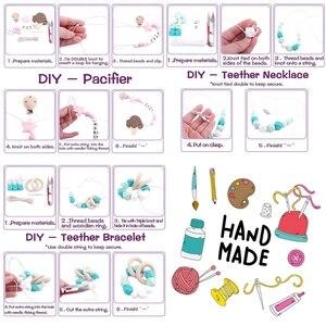 Image 4 - Lets Make accesorios para mordedores de bebé, cuentas de silicona, helado, Clip de madera para chupete de pájaro, joyería DIY, collar de dentición de enfermería