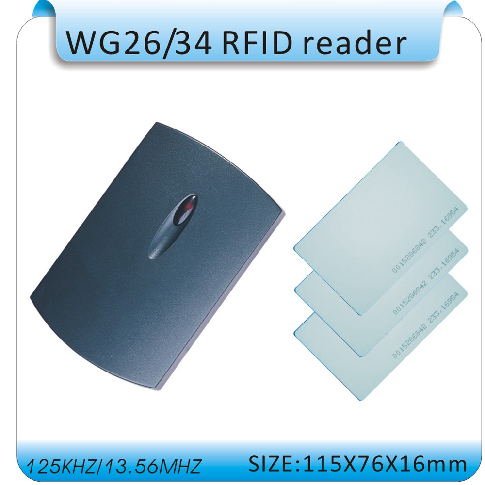 Free shipping 125Khz Rfid WG26 Reader /contactless reader ID Card Reader WG26/34 EM4100 Card Reader +10pcs card free shipping waterproof rfid 125khz reader access control system wg26 reader wg26 34 port 10pcs crystal keyfob