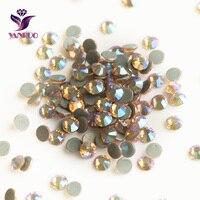 YANRUO 2058HF Light Peach AB Flat Back Strass Hotfix Rhinestones Crystal Heat Iron Crystal Stones