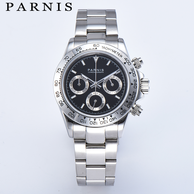 Parnis Drive Watches Men Quartz Pilot Chronograph Luxury Business Sapphire Crystal Watch Relogio Masculino 2019