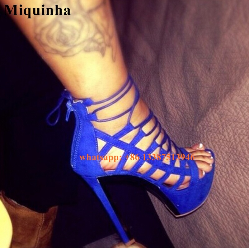 Hot Selling Women Fashion Open Toe Blue Suede Leather High Platform Sandals Cut-out Ankle Strap High Heel Sandals Dress Shoes  hot selling denim blue ankle strap buckle high heel sandals cut out thick heel gladiator sandals for women summer dress shoes