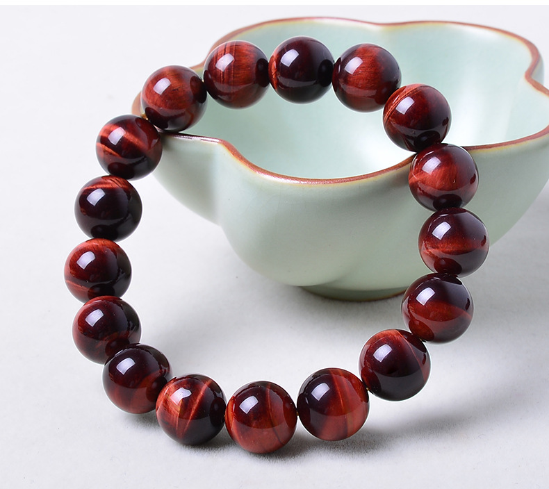 16mm Red Tiger Eye Natural Stone Bracelets For Women And Men Jewelry Crystal Silver Charm Bracelets Bangles Elastic Rope Chain цена 2017