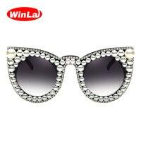 Winla Fashion Design Cat Eye Sunglasses Women Sun Glasses Rhinestone Print Luxury Gradient Lens Vintage Shades