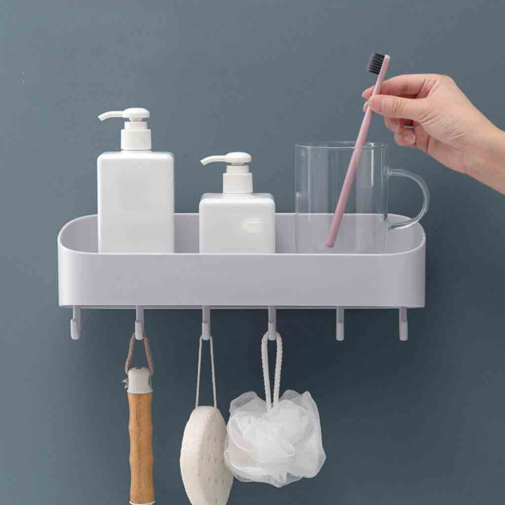 Bathroom with hook racks bathroom vanity toilet wall hanging storage rack free punch bathroom towel rack