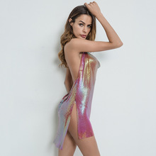 Sexy Colorful Red Metal chain Summer Dress Backless bandage Bling Sequin dress Luxury Night club Party Dresses