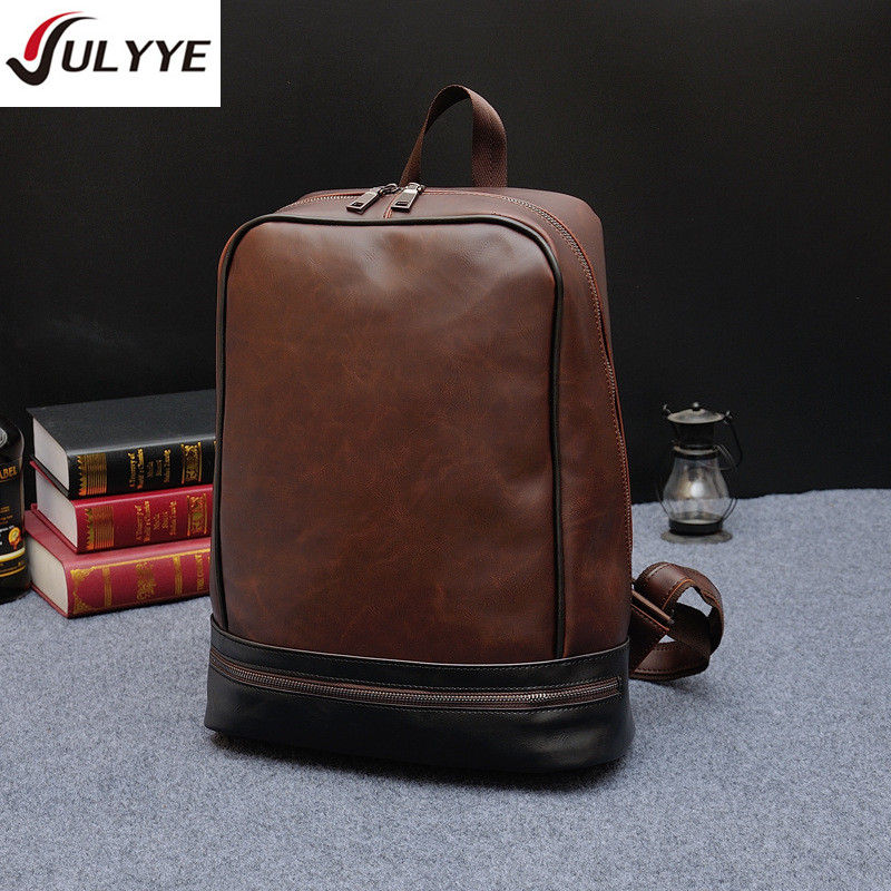 YULYYE New Quality Vintage Leather Bag Men Business Backpacks Fashion Multifunction School Backpack Two-color High Capacity Bags