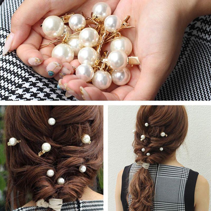 Ladies Large Imitation Pearl Ball Duckbill Hair Clip Metal Alloy Hairpins Mini