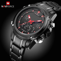 NAVIFORCE Mens Quartz Watches Back Light Date Display Stop Watches Stop Watch Full Steel Male Clock