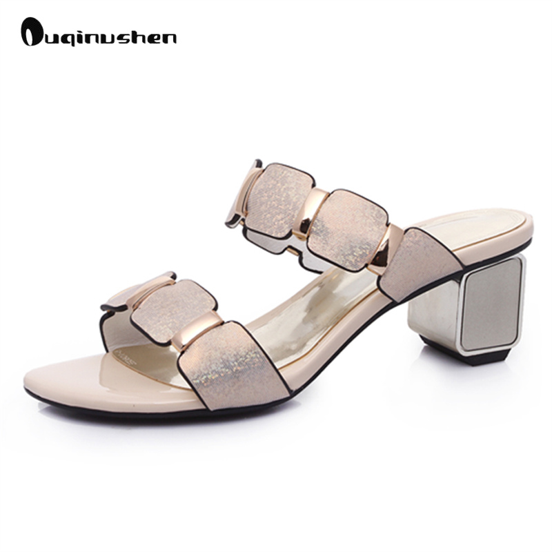 OUQINVSHEN Fashion Shining Summer Woman Sandals 2017 Peep toe High Heels Genuine Leather Sexy Women Party Dress Wedding Shoes 2017 new sexy thin high heels peep toe shoes woman sandals genuine leather women silver party wedding gladiator summer sandals