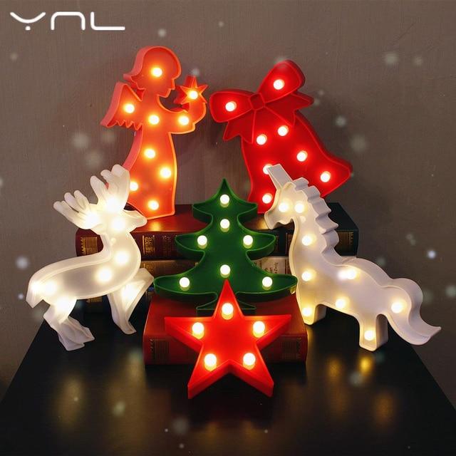 Christmas Decor Led Night Light Tree Flamingo Cactus Angel Star Cloud Love Unicorn Fairy Table