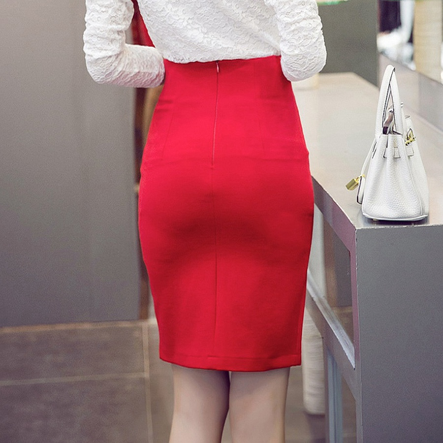 b05795a48d931 Plus Size Sexy Women Office Skirt 2017 Summer Slim Bodycon High Waist  Button Split Formal Office Lady Black Pencil Skirts Female free shipping  worldwide