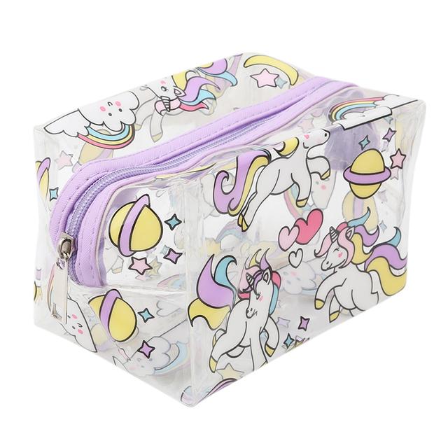 Transparent Unicorn Printed Cosmetic Bag
