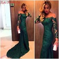 Arabic Women Dark Green Lace Evening Dress Illusion Neck Long Sleeves Robe De Soiree 2017 Runway Celebrity Prom Dresses Gown