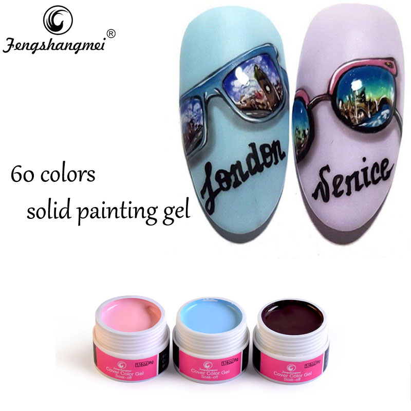 Fengshangmei 60 colores 8g Diseño de uñas Pintura de uñas Gel Pure Cover Color Gel 31 a 60