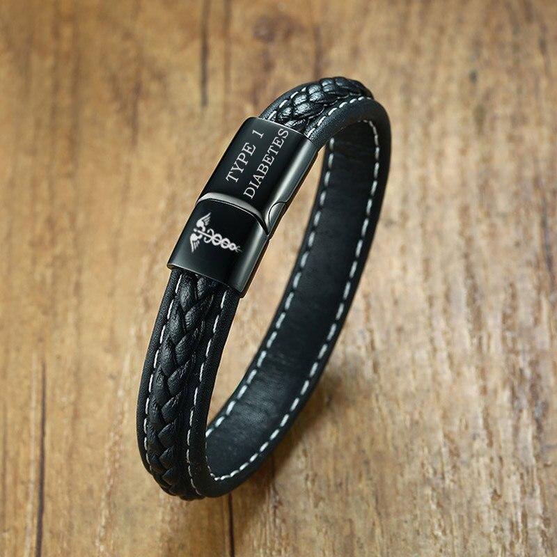 TYPE 1 LE DIABÈTE Alerte Médicale Bracelet D'urgence Rappeler Bijoux Noir Véritable En Cuir