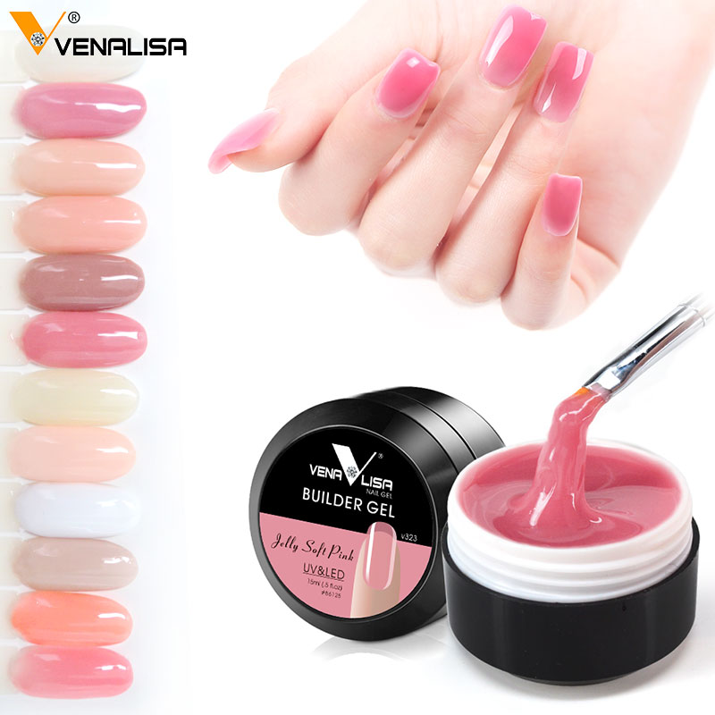 Image 5 - Thick Builder Gel Nails Pink VENALISA New 15ml Finger Nail Extension UV LED Gel Nail Cover Pink Camouflage Soak Off Jelly Gel-in Nail Gel from Beauty & Health