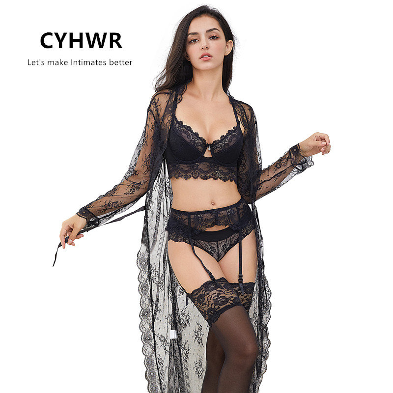 CYHWR Underwear-Set Stockings Bra Thong Sexy Panties Y-Line-Straps Lady Lace for Robe