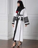 Dames Mode Maleisië Moslim Jurk vrouwen lange mouwen chiffon kleding wit Moslim kant abaya