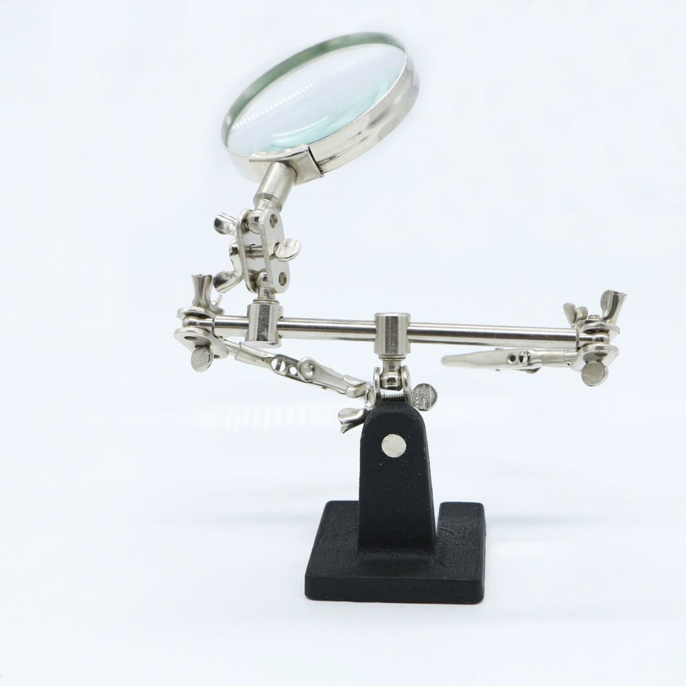 Newest Protable Third Hand Tool Soldering Stand With 5X Magnifying Glass 360 Degree Rotating Adjustable Locking Arms