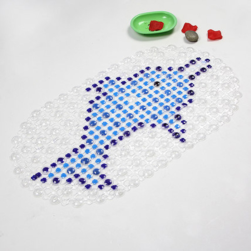 Cartoon dolphin PVC bathroom anti - skid mat hotel bathroom shower hollow foot pads sucker mats