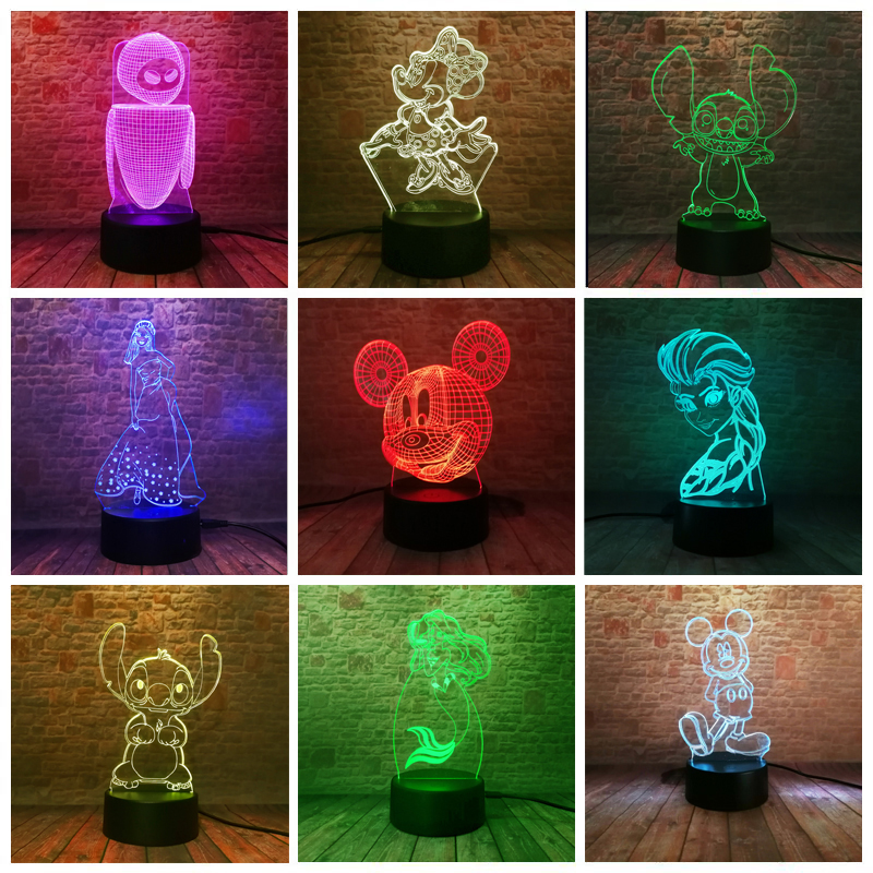 Amroe Hot 3D Figure Cartoon Kawaii Stitch Minnie Mickey Robot Princess Queen Elsa Girl 7 Color RGB LED Night Light Child GiftsAmroe Hot 3D Figure Cartoon Kawaii Stitch Minnie Mickey Robot Princess Queen Elsa Girl 7 Color RGB LED Night Light Child Gifts