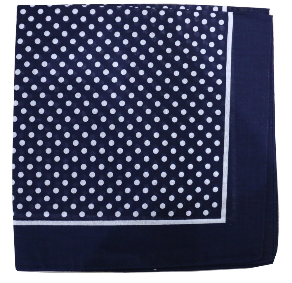 Free Shipping 2018 New Cotton Navy Blue Polka Dot Bandana Scarf For Women Mens