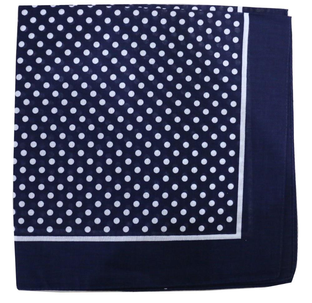 Free Shipping 2019 New Cotton Navy Blue Polka Dot Bandana Scarf For Women Mens