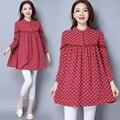 Alta qualidade mulher grávida dress outono manga longa maternidade roupas de linho de algodão floral retro soltas casual vestidos longos ce318