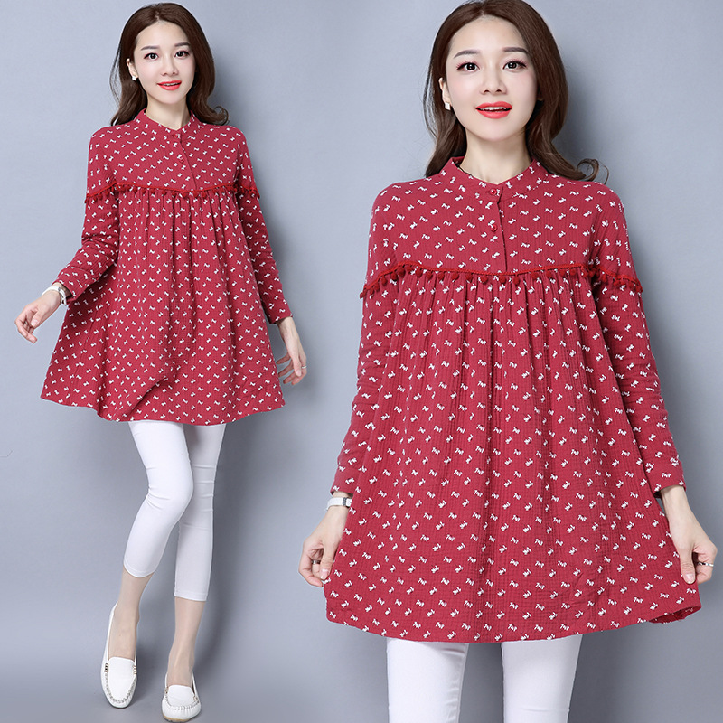 a72e816d7a54f High Quality Pregnant Woman Dress Autumn Long Sleeve Floral Cotton Linen Maternity  Clothes Retro Loose Casual Long Dresses CE318-in Dresses from Mother & ...