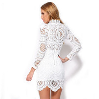 Women Outfits For Love And Lemons Bodycon Dress Sexy Club Party Dress White Crochet Lace High